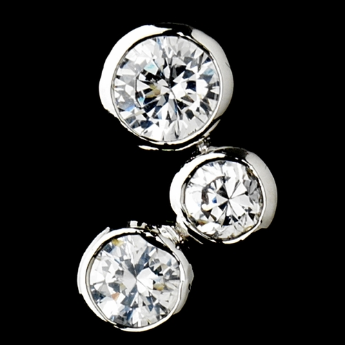 * Antique Silver Clear CZ Earring 3807