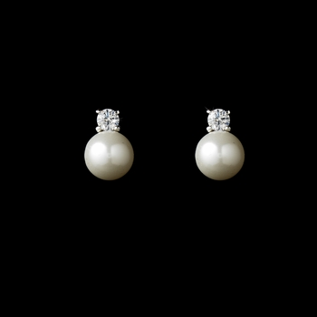 Charming Silver Clear CZ & White Pearl Earrings 6015