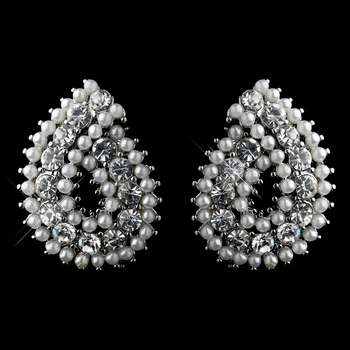 Silver White Pearl and Clear Rhinestone Paisley Style Earrings 9268