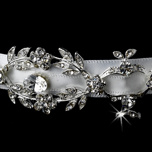 * Antique Silver White Ribbon Headpiece 8440