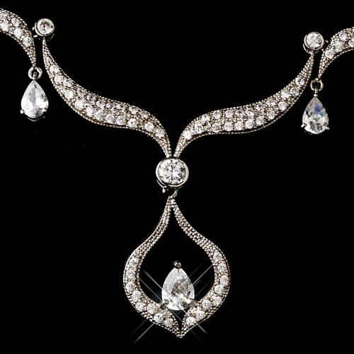 Vintage Silver Clear Cubic Zirconia Bridal Necklace Earring Set 1272