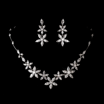 Silver Clear Cubic Zirconia Necklace Earring Set 1274