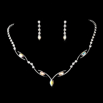 * Silver AB Necklace Earring Set 5104