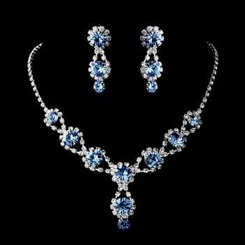 Silver Necklace & Earring Set with Light Sapphire Crystals & Clear Rhinestones 4362