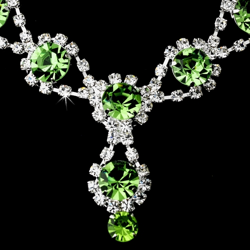 Silver Necklace & Earring Set with Peridot Green Crystals 4362