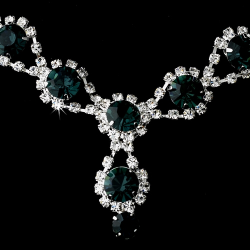 Silver Necklace & Earring Set with Navy Blue Crystals and Clear Rhinestones 4362