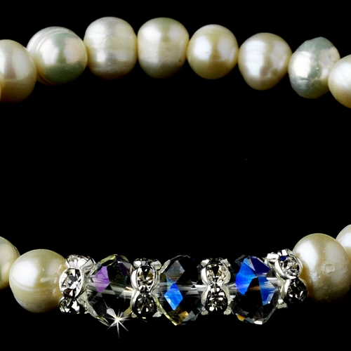 Silver Ivory Pearl &  AB Crystal Bracelet 7235 ***Discontinued***