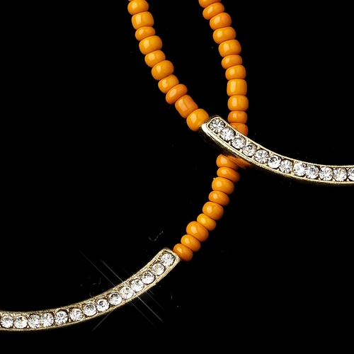 Gold Orange Bead & Clear Rhinestone Hoop Earrings 8817