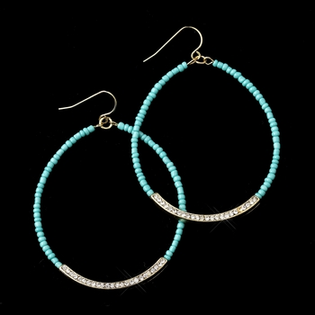 Gold Turquoise Bead & Clear Rhinestone Hoop Earrings 8817