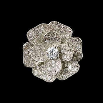 Fabulous Silver Clear CZ Flower Ring 8228