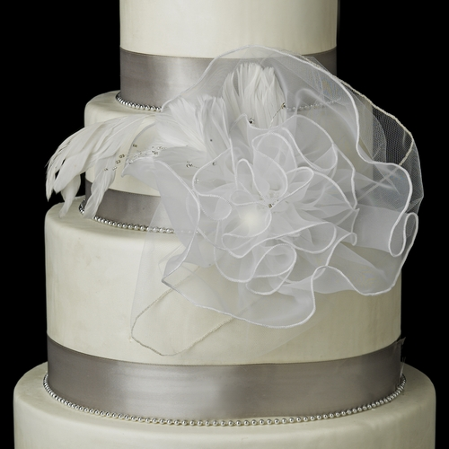 Decorative Organza Flower Cake Accessory with Crystals & Feathers 1141