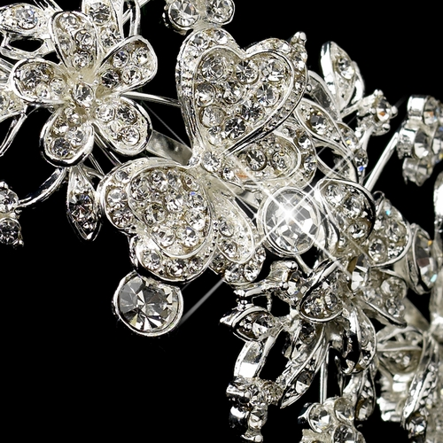 * Silver Clear Rhinestone Butterfly Side Accented Headband Headpiece 16914 * 1 Left *