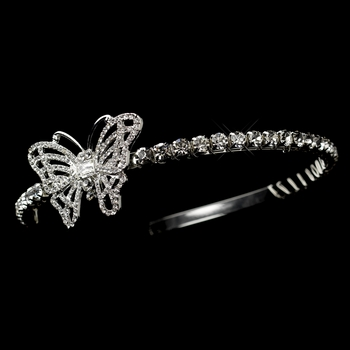 * Antique Silver Clear Rhinestone Butterfly Side Accented Headpiece 70934