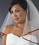 Veil with Burgundy Satin Ribbon Edge Veil-655