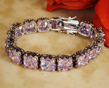 Glittering Lilac Cubic Zirconia Crystal Bracelet 4115