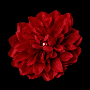 * Elegant Bridal Flower Hair Clip or Clip Brooch - Red Dahlia for Wedding Day Up do - Clip 402