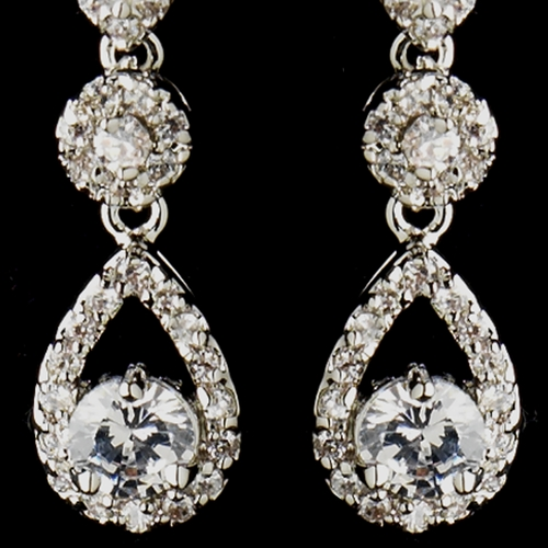 Antique Silver Clear Round CZ Crystal Dangling Earrings 5405