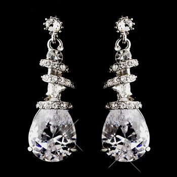 Silver Clear Crystal Swirl Earrings 8592