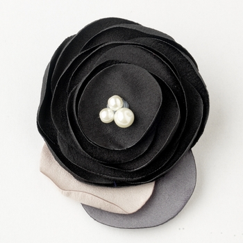 Black Flower Sophistication Hair Clip with Faux Pearl Accents 9940 with Additional Brooch Pin