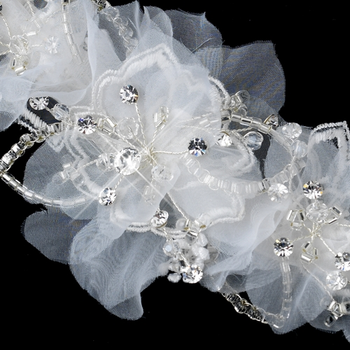 * Clear Rhinestone, Glass Bead & Fabric Flower Hair Clip 2268