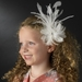 * Stunning White or Ivory Feather & Clear Rhinestone Flower Hair Clip 4632