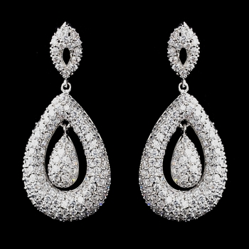 Antique Silver Clear CZ Crystal Earrings 8925