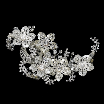 Silver Clear Swarovski Crystal Bead, Rhinestone & Sequin Flower Hair Clip 486