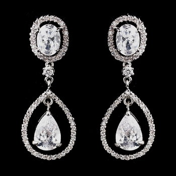 Antique Silver Clear CZ Crystal Bridal Earrings 8929