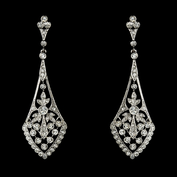 Antique Silver Clear CZ Vintage Bridal Earrings 3530