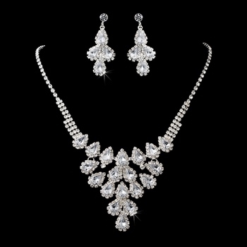 Necklace Earring Set 11041 Silver Clear