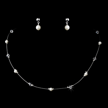 Lovely Children's Silver Pearl & Clear Crystal Bead Necklace & Earring Set 408