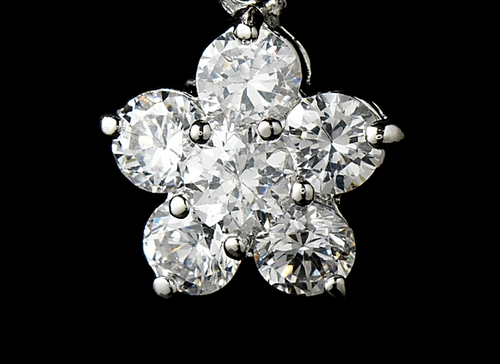Stuning Antique Silver Clear CZ Flower Earrings E 6009