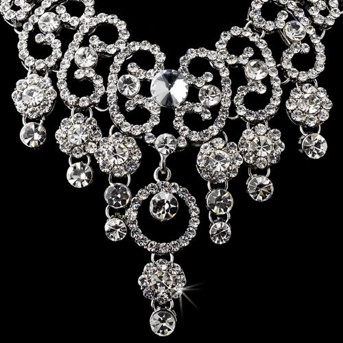 Necklace Earring Set 8454 Silver Clear