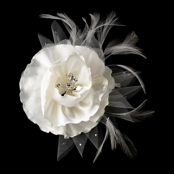Ivory or White Flower Clip 473 with Brooch Pin