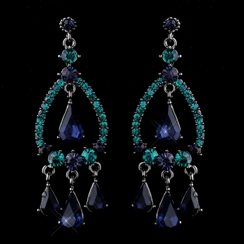 Blue teal chandelier rhinestone earringssilver rhinestone silver blue teal crystal rhinestone teardrop chandelier earrings 8686 aloadofball Gallery