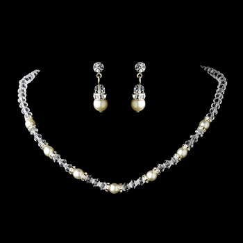 Silver Ivory Necklace Earring Set 216