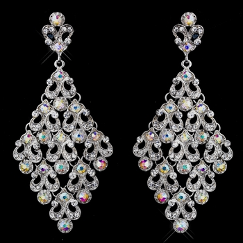 Fashionable Antique Silver Clear & AB Chandelier Earrings 8714