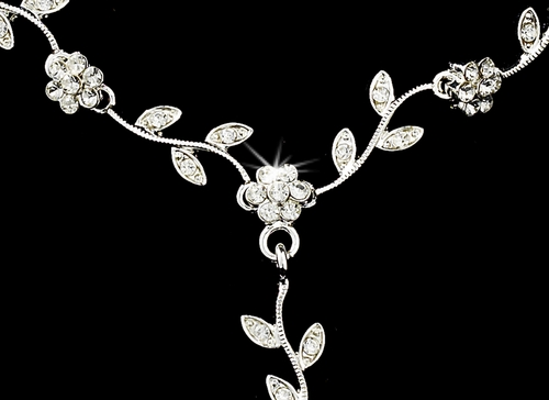 Silver Clear Necklace Earring Set 70909