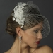 Floral Veil Fascinator with Rhinestone, Crystal & Lace Clip 2719