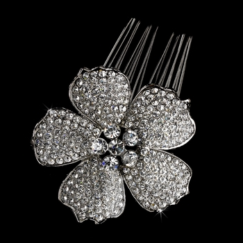 Gorgeous Antique Silver Flower Hair Comb w/ Clear Rhinestones & Swarovski Crystals 9995