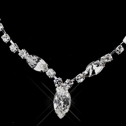 Silver Clear Necklace & Earring Set 70557