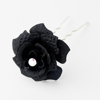 Black Glitter Crystal Bridal Hair Pin 900