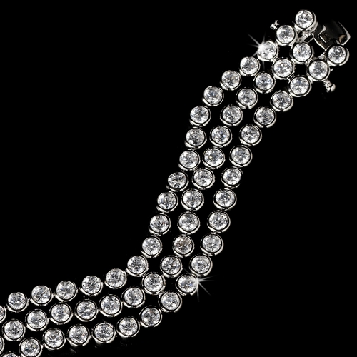Chic Silver 3 Strand Bezel Set Cubic Zirconia Bracelet 2517 **Discontinued**