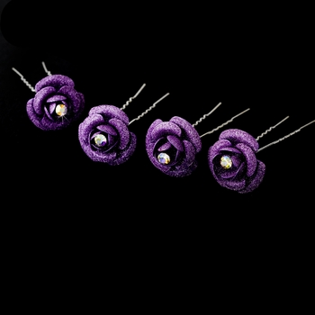 * Lilac Glitter Crystal Bridal Hair Pin 901 (Set of 12)