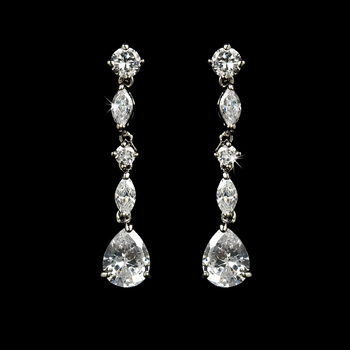 Antique Silver Clear Cubic Zirconia Earring 9011