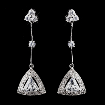 Antique Silver Clear CZ Crystal Earrings 8923