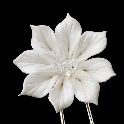 * Porcelain Flower with Swarovski Crystal Accent Pin 66 (Set of 2)