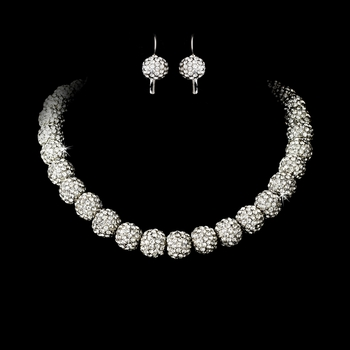 Fabulous Silver Clear Rhinestone Pave Ball Necklace & Earring Set 1001