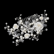 Silver Ivory Pearl, Austrian Crystal Bead and Rhinestone Rose Hair Comb 2882