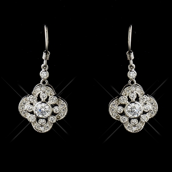 Intricate Floral Bridal Cubic Zirconia Earring E 8107